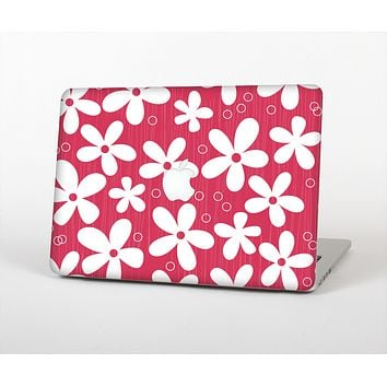 The Hanging White Vector Floral Over Red Skin for the Apple MacBook Air 13""