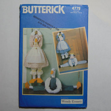 Butterick Sewing Pattern 4779 Draft Door Stop Decorations Home Décor
