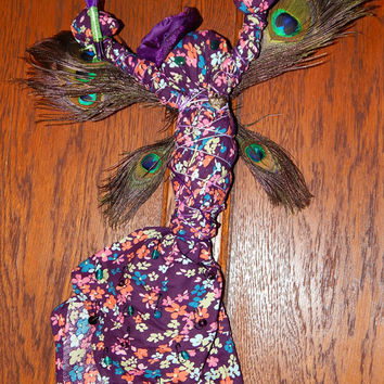 Violet Meadow Faerie Poppet - Voodoo Doll - Adornment Poppet - Spell Fetch - Folk Art Doll - Magickal Curio - Mixed Media Art -Free Shipping