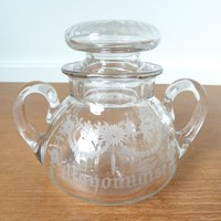 Antique Hawkes etched double handle mayonnaise jar with lid in excellent condition