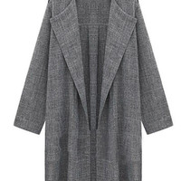 Dark Gray Folded Sleeve Long Cardigan