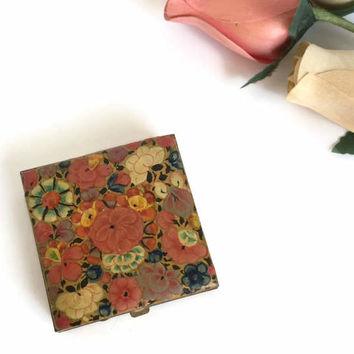 Pill Box with Hand Painted Enamel Flowers, Pill Boxes, Pill Holder, Enamel Pill Box, Tiny Metal Box, Small Brass Box, Pill Medicine Holder