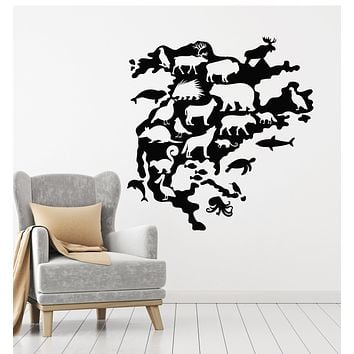 Vinyl Wall Decal North America Animals Wildlife Kids Room Decor Stickers Mural (g918)