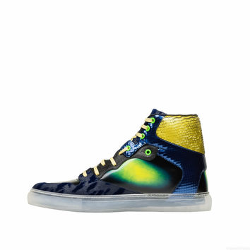 Balenciaga Iridescent Multicolor High Sneakers Black/ Blue - Men's Sneaker