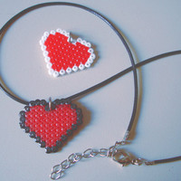 Pixel Heart 8 bit Pendant in Black or White. Korea Wax Snake String Necklace Cord With Lobster Clasp