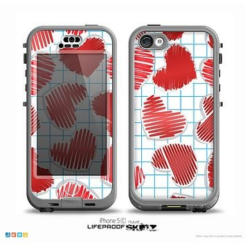 The Colored Red Doodle-Hearts Skin for the iPhone 5c nüüd LifeProof Case