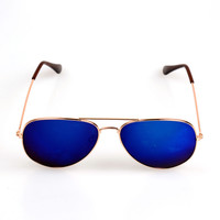 Reflective Mirror Lens Aviator Sunglasses Golden Metal Frame Blue Shades Vintage Mirror Lens  Men/ Women