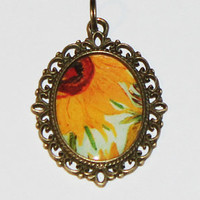 Van Gogh Sunflower Pendant Necklace