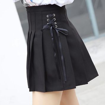 Harajuku Women Skirt Japanese Preppy Kawaii Pleated A-line Lace-up Sailor Skirts Lolita Mini Cute School Uniforms Skirts Q2SK016