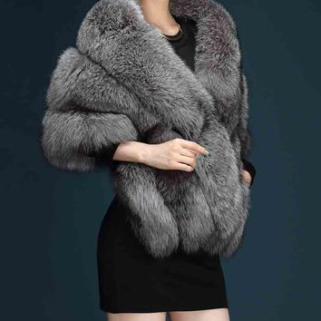 Faux Fur Coat Gilet faux fox Fur Vest Women Fur Shawl Cape Winter Poncho Warm Shawls Wraps