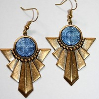 Art Deco vintage Blue Glass x reflector brass by rubydalmatian