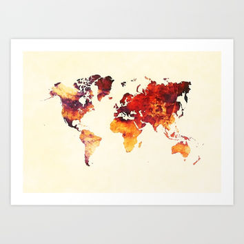 world map 89 art red Art Print by jbjart