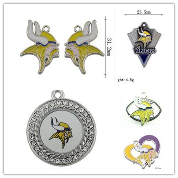 Mix 6 Styles Enamel Football Team Minnesota Vikings Dangle Charms Pendant For DIY Bracelet&Necklace Earrings Jewelry 20pcs/lot