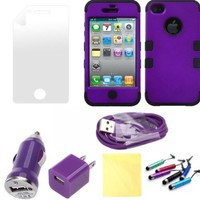 (TRAIT) 5IN1 Purple&Black for iphone4 4g 4s Front and back covers Protective Cases for iphone 4 4g 4s Cases +2* Screen protector+2* cleaning Cloth