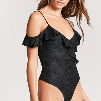 Open-Shoulder Lace Bodysuit