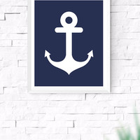 Navy Blue Anchor Printable, Sea Wall Art, Nautical Wall Art, Beach House Decor, Nursery Wall Art, Gallery Prints, 8x10, 24x30 Inches