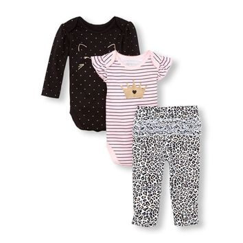 Baby Girls Cat Queen Bodysuits And Leopard Leggings 3-Piece Playwear Set