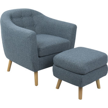 Rockwell Mid-Century Modern Noise Fabric Chair with Ottoman, Blue