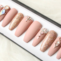 Nude Matte Swarovski Press on Nails | Genuine Swarovski | Rose Gold | Glitter | Handpainted Nail Art | Glue On Nails | Any Shape Size