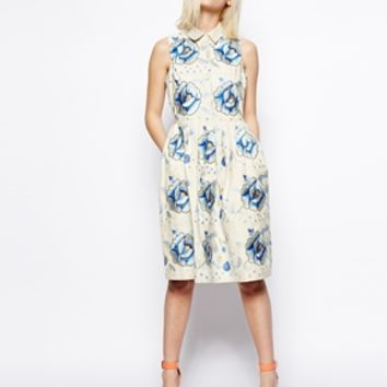 ASOS Premium Embroidered Skater Dress With Blue Flowers