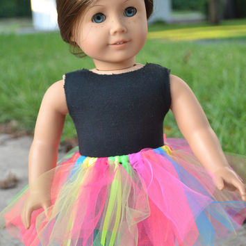 American Girl Doll Clothes- leotard & Neon tutu, 18 in doll clothes