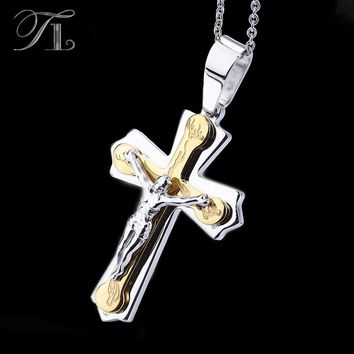 TL Necklace Pendant Brand Necklaces Silver Gold Color Jewelry Antique Cross Crucifix Jesus Cross Pendant Necklaces For Women Men