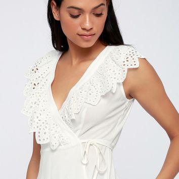 Delight of the Day White Eyelet Wrap Top