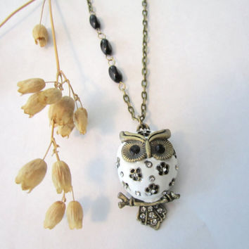 Owl Necklace  White by 636designs on Etsy