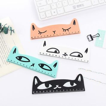 1 PCS Cartoon Kawaii Lovely Cat Modeling Wooden Ruler Student Ruler Prizes Korea Creative Stationery School Supplies