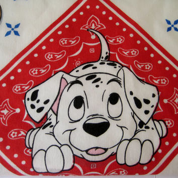 Vintage Disney 101 Dalmatians FULL Size Flat Bed Sheet Western Cowboy Kids Bedding Craft Fabric 101 Dalmatians Bedding Clean Gently Used