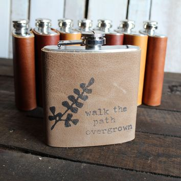 *Customizable* Walk the Path Leather Hip Flask