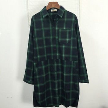 Plaid Shirt Collared Long Sleeves Windbreaker Jackets With Pockets