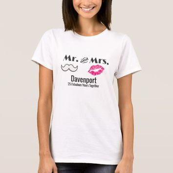 Moustache & Lips Mr. & Mrs. Anniversary T-Shirt