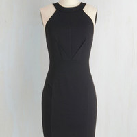 LBD Mid-length Sleeveless Sheath Anniversary Allure Dress in Noir by ModCloth