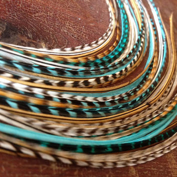 Natural Feather Hair Extension 911inch Turquoise by PrettyVagrant