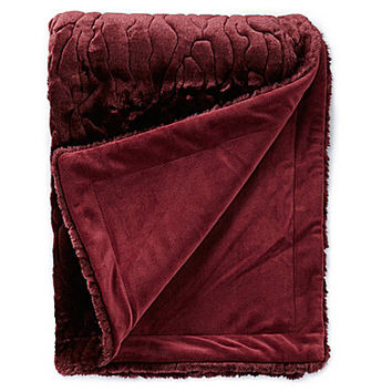 Noble Excellence Lexington Embossed Faux Fur Throw