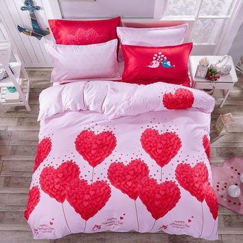victoria secret pink 3/4pc bedding set cotton lover quilt cover sheet/ bed linen- Wedding Home textiles-housse de couette