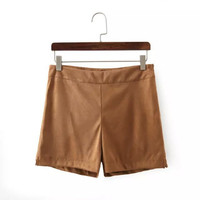 Summer Simple Design Slim Suede High Rise Pants Shorts [4917849796]