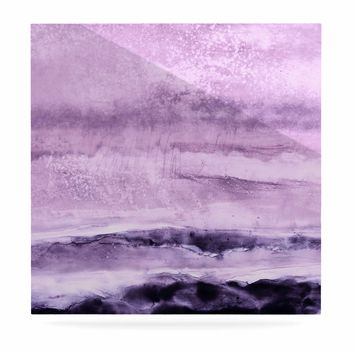 "Iris Lehnhardt ""Abstract Scenery"" Purple Lavender Abstract Coastal Painting Watercolor Luxe Square Panel"