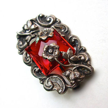 Czech Red Glass Sterling Silver Brooch-Pin Art Deco Repousse Petite C Clasp Vintage