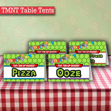 Personalized Ninja Turtles Birthday Food Table Tents Cards | TMNT Birthday Party Printable Food Tents