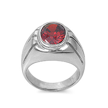 925 Sterling Silver CZ Round Center Simulated Garnet Ring 11MM