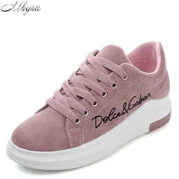 Mhysa 2018 Spring New Designer Wedges Pink Platform Sneakers Women Vulcanize Shoes Tenis Feminino Casual Female Shoes Woman Y07