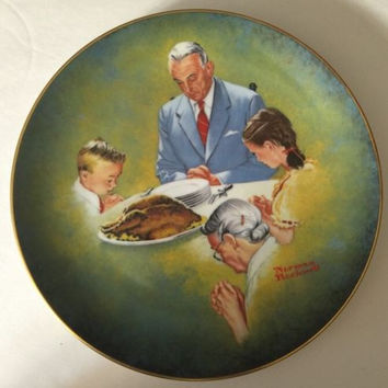 "Norman Rockwell Plate American Family Series II ""Giving Thanks"" # 9196"