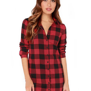 Plaid Cuff Sleeve Full Buttoned Lapel Blouse