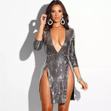 Mini Silver Sequin Bodycon Dress