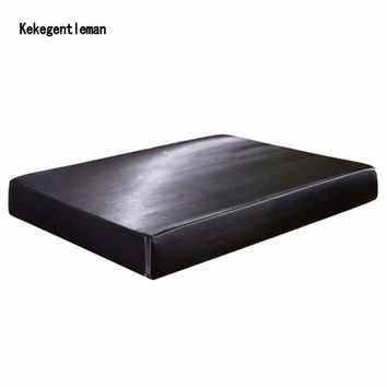 US UK Size Satin Faux Silk Fitted Sheet Solid Color Mattress Protector Bed sheets With Elastic Band Twin Double Full Queen King