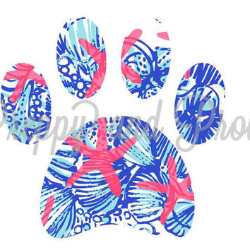 Lilly Pulitzer Inspired Paw Print, Pet Decal, Paw Print Decal, Dog Decal, Lilly Decal, Car Decal, Phone Decal, Laptop Decal, Yeti Decal