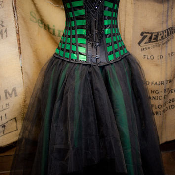 Steampunk Costume Prom Wedding Dress in Green & Black tulle skirt Burlesque corset top