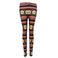 Christmas Snowflake Geometric Striped Print Leggings